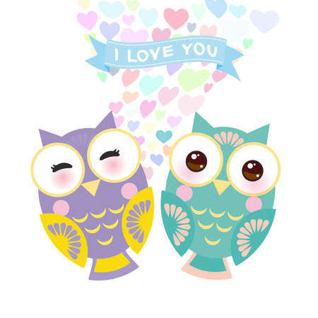Valentines Day Card design with Kawaii owl with pink cheeks and winking eyes, pastel colors on white background. Vector illustration