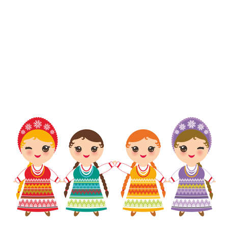 Slavic girl in Orange lilac green red sundress, white shirt with embroidery, hair braided two braids Kawaii child national costume. Cartoon children traditional dress isolated on white. Vector illustration