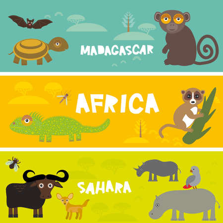 Cute animals set Turtle bat monkey lemur bull hippo parrot tsetse fly camel Chameleon Fennec fox, kids background African animals, Africa, Madagascar, Sahara Desert bright colorful banner. Vector illustration