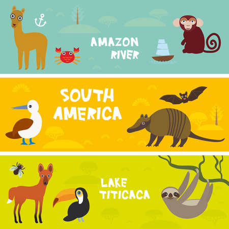 Cute animals set anteater manatee sea cow sloth Hyacinth macaw guanaco lama marmoset monkey armadillo Blue-footed booby, kids background, South America Titicaca, Amazon bright colorful banner. Vector illustration