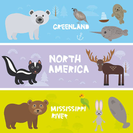 Cute animals set crocodile alligator skunk polar bear elk hare rabbit parrot Manatee narwhal fur seal partridge, kids background North America animals,  bright colorful banner. Vector illustration