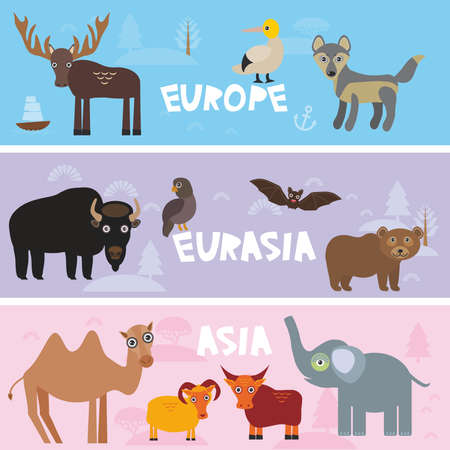 Cute animals set Parrot bison brown bear Camel sheep, cow elephant booby moose wolf bat deer, kids background Europe Asia Eurasia animals, bright colorful banner. Vector illustration Illustration