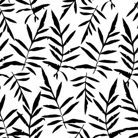 Seamless pattern with leafs tropical fern palm for fashion textile or web background. Black  silhouette on white background. Vector illustration