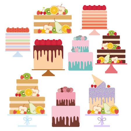 Birthday, valentines day, wedding, engagement. Set sweet cake, Cake Stand, decorated with fresh fruits and berries, chocolate icing sprinkles, cake pops, pastel colors on white background. Vector illustration