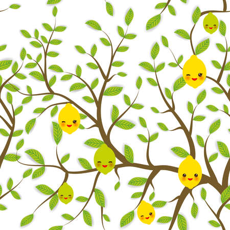 seamless pattern Brown branches with green leaves, lemon lime fruits Kawaii funny muzzle with pink cheeks and winking eyes, pastel colors on white background. Vector illustration