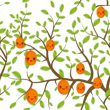 seamless pattern Brown branches with green leaves, peach apricot fruits Kawaii funny muzzle with pink cheeks and winking eyes, pastel colors on white background. Vector illustration