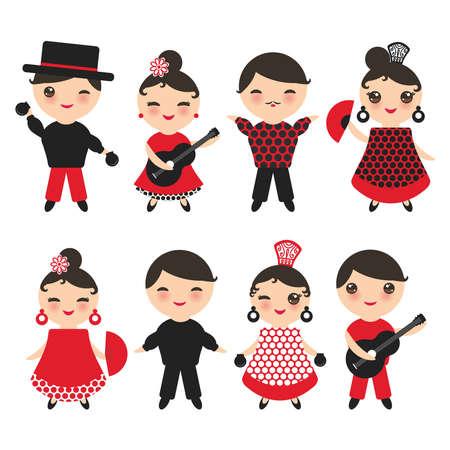 Spaanse flamencodansereset. Kawaii schattig gezicht met roze wangen en knipogen ogen. Zigeunermeisje en jongen, rode zwarte witte kleding, stipstof, die op witte achtergrond wordt geïsoleerd. Vector illustratie