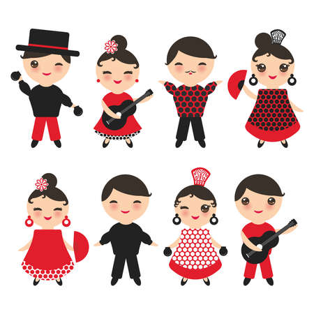 Spanish flamenco dancer set. Kawaii cute face with pink cheeks and winking eyes. Gipsy girl and boy, red black white dress, polka dot fabric, Isolated on white background. Vector illustration