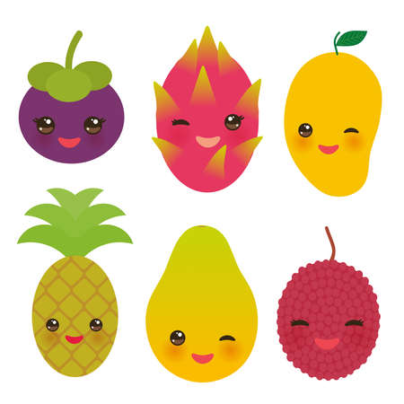 cute funny kawaii exotic fruit Mangosteen pineapple papaya dragon fruit mango lychee isolated on white. Vector illustration
