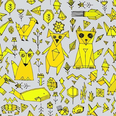 snake origami: seamless pattern with Dog cat fox fish birds sea animals and plants, Black outline Mustard yellow on grey background, doodle decorative elements origami. trendy backdrop for site, blog, fabric. Vector illustration