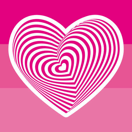 white heart on light pink background. Optical illusion of 3D three-dimensional volume. Vector illustration Illustration