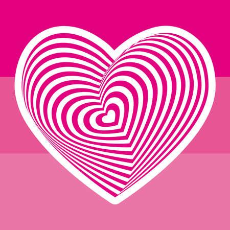 postcard: white heart on light pink background. Optical illusion of 3D three-dimensional volume. Vector illustration Illustration