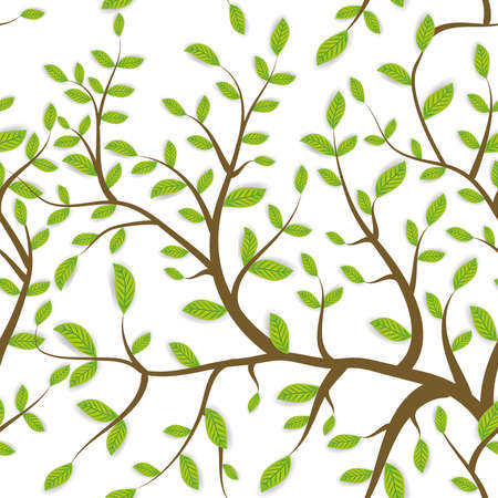 seamless pattern Brown branches with green leaves, pastel colors on white background. Vector illustration
