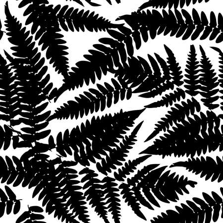 Seamless pattern with leafs tropical fern palm for fashion textile or web background. Black silhouette on white background. Vector illustration Illustration