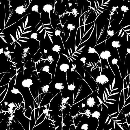 fall leaves: natural floral seamless pattern Graphic collection with leaves and flowers elements. Spring summer design for invitation, wedding or greeting cards. white silhouette, Black background. Vector illustration Illustration