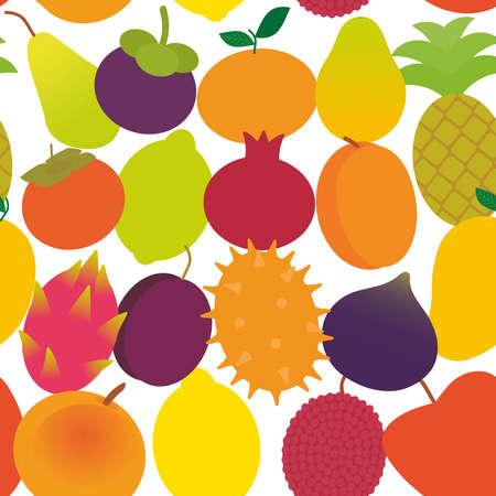 seamless pattern ripe juicy fruit pear, mangosteen, tangerine, pineapple, papaya persimmon, pomegranate, lime, apricot, plum, dragon fruit, figs, mango, peach lemon, lychee, apple, and kiwi isolated on white vector illustration