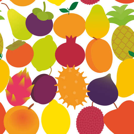 seamless pattern ripe juicy fruit pear, mangosteen, tangerine, pineapple, papaya persimmon, pomegranate, lime, apricot, plum, dragon fruit, figs, mango, peach lemon, lychee, apple, and kiwi isolated on white vector illustration