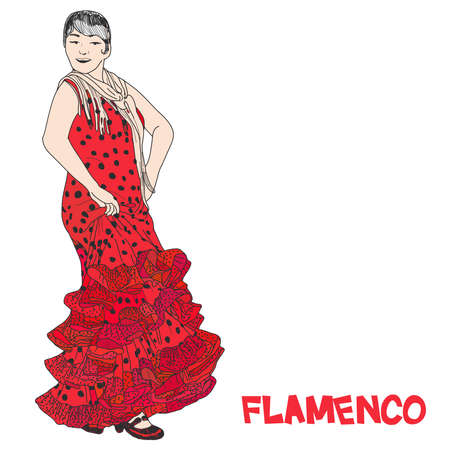 Flamenco fiesta banner for your text. Woman flamenco dancer in long red polka-dot dress stay in dancing pose sketch isolated on white vector illustration