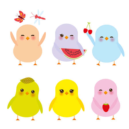 Kawaii colorful chick in blue, green, orange, pink, and yellow with pink cheeks and winking eyes on white background vector illustration