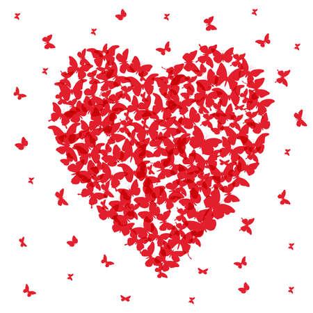 postcard: Heart - summer banner, card design, red butterfly on white background. Vector illustration