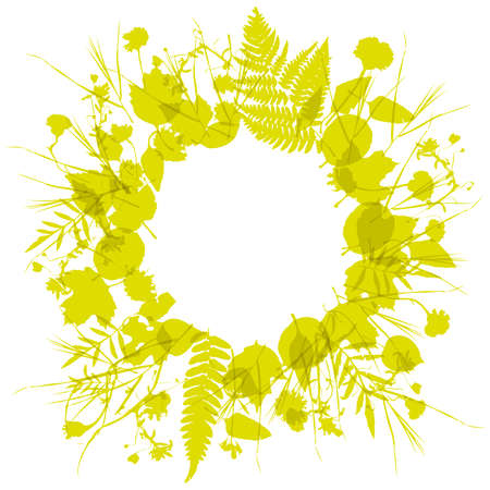 floral round frame wreath of flowers, natural design leaves flowers elements. Spring summer design for invitation, wedding or greeting cards. Gold yellow mustard silhouette, white background. Vector illustration