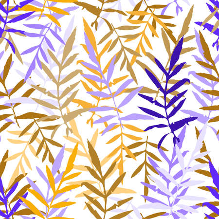 シームレス パターンのファッション繊維または web 背景の熱帯シダ ヤシを葉します。オレンジ色群青色紫茶色のシルエット白地。ベクトル図