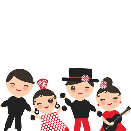 Spanish flamenco dancer card design, banner template. Kawaii cute face with pink cheeks winking eyes. Gipsy girl and boy, red black white dress, polka dot fabric, Isolated on white background. Vector illustration