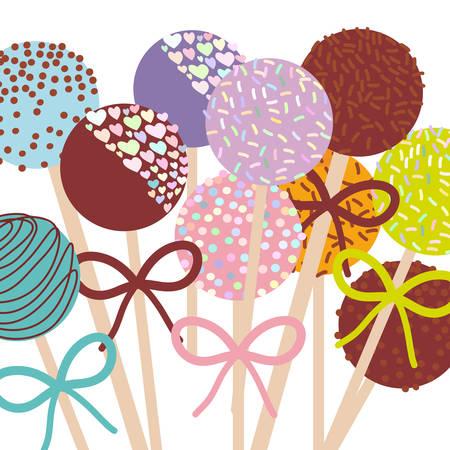 Kleurrijke Zoete Cake pops set met strik op een witte achtergrond. vector illustratie