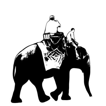 Elephant trekking traveler ride elephant, elephant driver, black silhouette on white background. Vector illustration