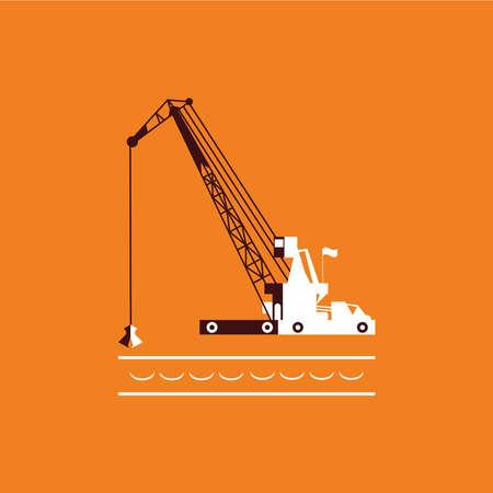 dredging: Huge crane barge Industrial ship that digs sand marine dredging digging sea bottom. orange and dark brown. Vector illustration Illustration