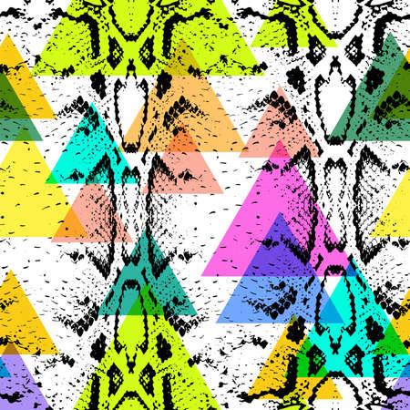 python skin: Snake skin texture seamless pattern. black magenta orange lilac pink purple blue beige print, Geo ethnic hipster backdrop modern trendy  Geometric abstract background for site, blog, fabric. Vector illustration