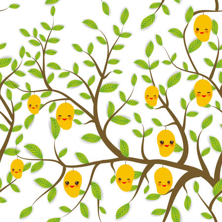 seamless pattern Brown branches with green leaves, yellow mango fruits Kawaii funny muzzle with pink cheeks and winking eyes, pastel colors on white background. Vector illustration Illusztráció