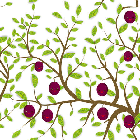 seamless pattern Brown branches with green leaves, plum fruits Kawaii funny muzzle with pink cheeks and winking eyes, pastel colors on white background. Vector illustration