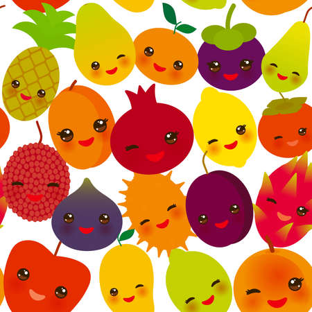 seamless pattern funny kawaii fruit Pear Mangosteen tangerine pineapple papaya persimmon pomegranate lime apricot plum dragon fruit figs mango peach lemon lychee apple kiwano isolated on white. Vector illustration Illusztráció