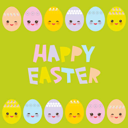 Happy Easter greeting card design. Kawaii colorful blue green orange pink yellow egg with pink cheeks and winking eyes, pastel colors on green background. Vector illustration Illustration