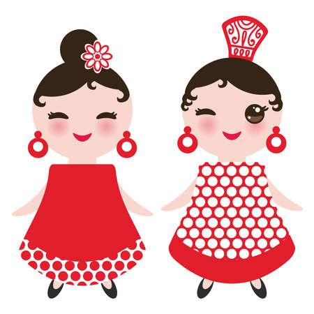 Spanish Woman flamenco dancer. Kawaii cute face with pink cheeks and winking eyes. Gipsy girl, red black white dress, polka dot fabric, Isolated on white background. Vector illustration