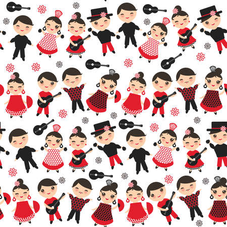 Seamless pattern Spanish flamenco dancer. Kawaii cute face pink cheeks winking eyes. Gipsy girl and boy, red black dress, polka dot fabric, on white background. Textile print, web page fill. Vector illustration  イラスト・ベクター素材