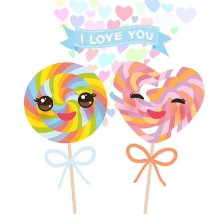 Ti amo Card design con lecca lecca caramelle Kawaii a forma di cuore con guance rosa e occhi ammiccanti, colori pastello su sfondo bianco. Illustrazione vettoriale Vettoriali