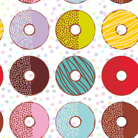 Seamless pattern Sweet donuts set with icing and sprinkls isolated, pastel colors on white polka dot background. Vector illustration Illustration