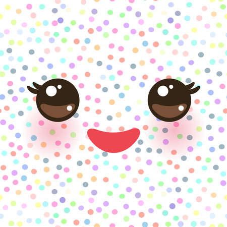Kawaii funny muzzle with pink cheeks and eyes on white polka dot background. Vector illustration Ilustração
