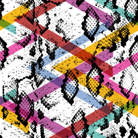 python skin: Snake skin texture seamless pattern. black magenta orange pink purple lilac green stripes, Geo ethnic modern trendy Geometric abstract background fashion art print for design site blog textile. Vector illustration