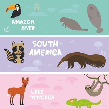 macaw: Cute animals set anteater manatee sea cow sloth toucan chameleon raccoon Maned wolf, kids background, South America animals Lake Titicaca, Amazon River bright colorful banner. Vector illustration Illustration