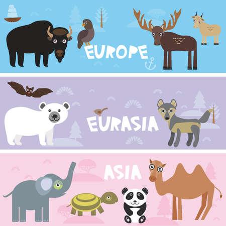 sea goat: Cute animals set bison panda goat polar bear Camel turtle bat deer wolf elephant, kids background Europe Asia Eurasia animals, bright colorful banner. Vector illustration