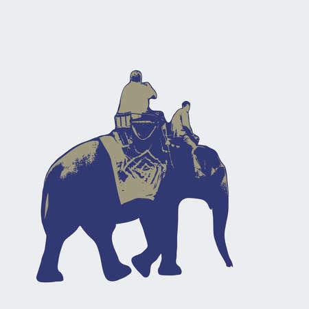 Elephant trekking traveler ride elephant, elephant driver, blue brown silhouette on white background. Vector illustration