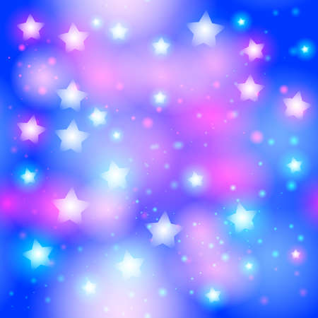 dust cloud: Abstract starry seamless pattern with neon star on Bright pink and blue background. Galaxy Night sky with stars. Vector illustration