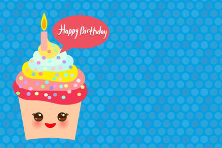 Happy Birthday Card design with Cupcake Kawaii funny muzzle with pink cheeks and winking eyes, pastel colors on blue background. Vector illustration