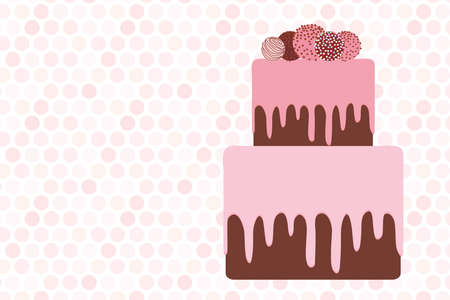 greeting card template, Birthday, valentines day, wedding, engagement. Sweet cake, strawberry pink cream chocolate icing sprinkles, cake pops, pastel colors on white pink polka dot background. Vector illustration
