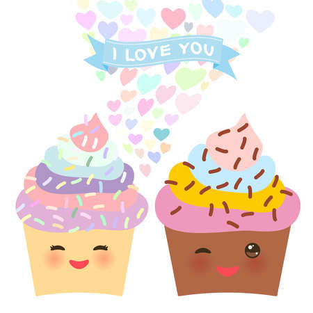 Valentines Day Card design with Kawaii cake with pink cheeks and winking eyes, pastel colors on white background. Vector illustration