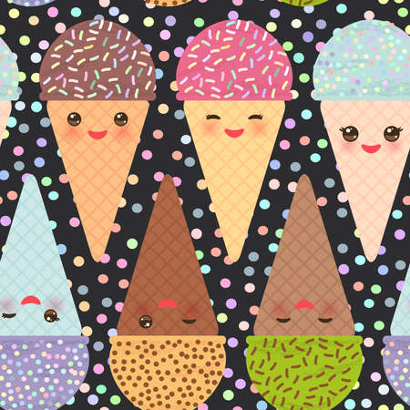 seamless pattern with three Kawaii mint raspberry chocolate Ice cream waffle cone funny muzzle with pink cheeks and winking eyes, pastel colors black polka dot black background. Vector illustration