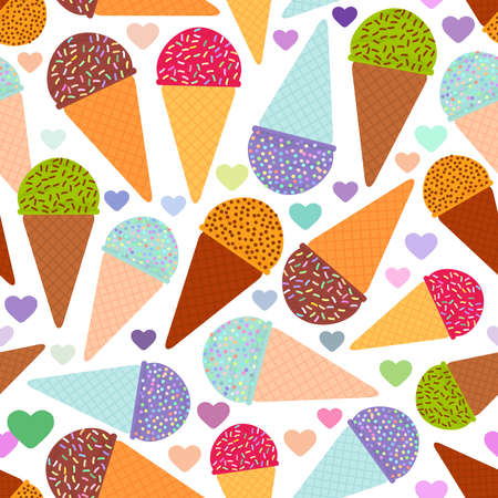 seamless pattern with mint raspberry chocolate Ice cream waffle cone, pastel colors black polka dot white background with hearts. Vector illustration Illustration